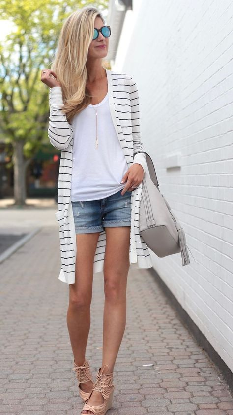 Summer Outfit Ideas with a Long Striped Cardigan Styled 3 Ways .