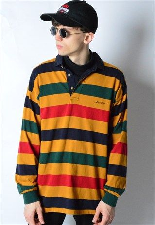 Vintage 90s Colourful Striped Long Sleeve Polo Shirt in 2020 .