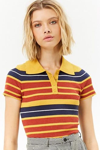 Women's 70s Striped Ribbed Polo Shirt Retro Colors | Polo shirt .