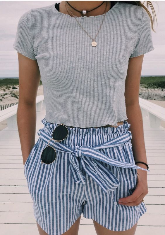 blue and white striped shorts | Crop top outfits, Cute summer .