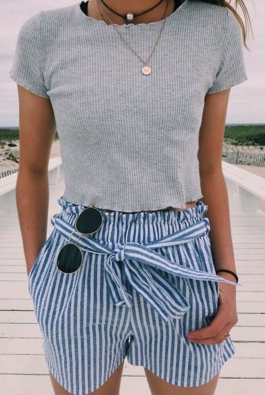 Summer #Outfits / gray t shirt + striped shorts | Crop top outfits .