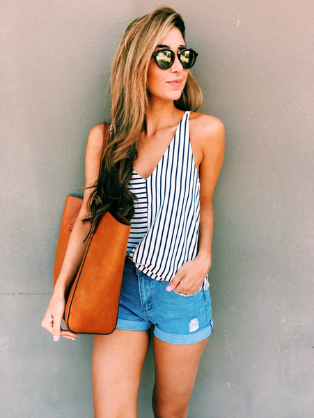 A Striped Tank and Short Shorts - Outfit Ideas That'll Keep You .