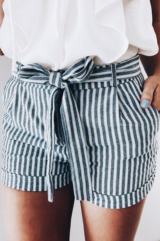 Cute blue and white striped shorts with white top. | Fashion, Cute .