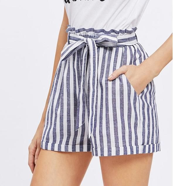 Striped High-Waisted Shorts, striped shorts outfit, striped shirt .