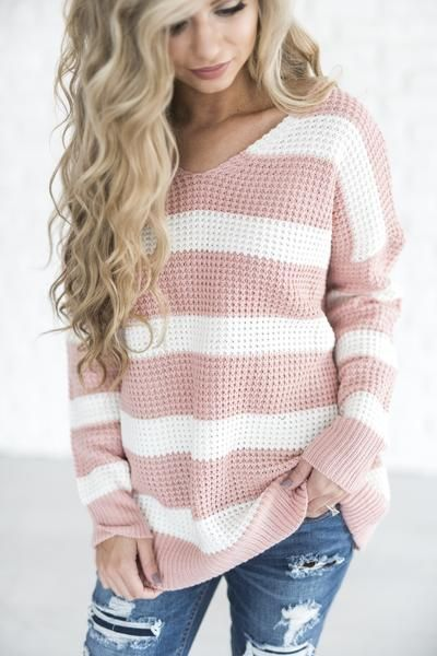 Rose Stripe Sweater - Mindy Mae's Market \ chunky knit sweater .