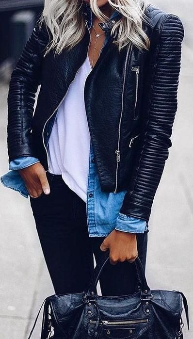 15 Leather Jackets Outfit Ideas | Fashion ideas | Fashion, Leather .