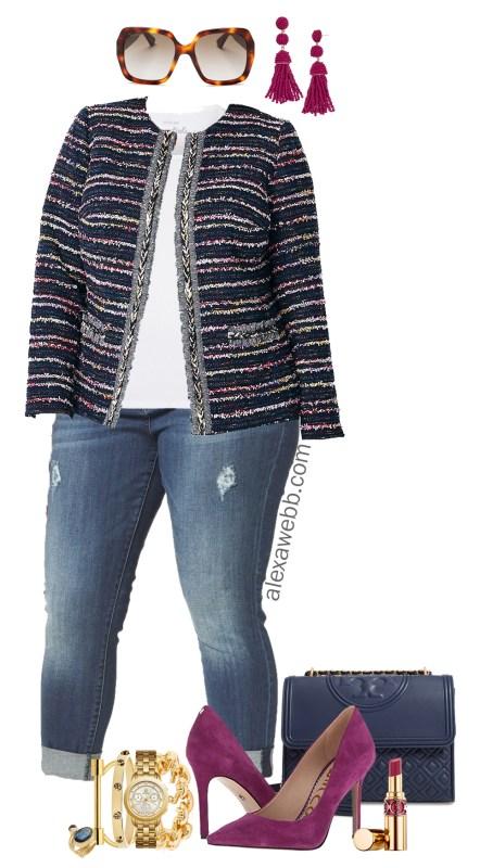 Plus Size Tweed Jacket Outfit - Alexa We