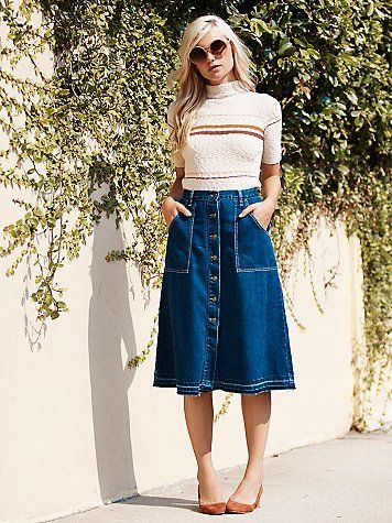 Making Me Crazy Denim Midi | Skirt outfits, Denim skirt outfits .