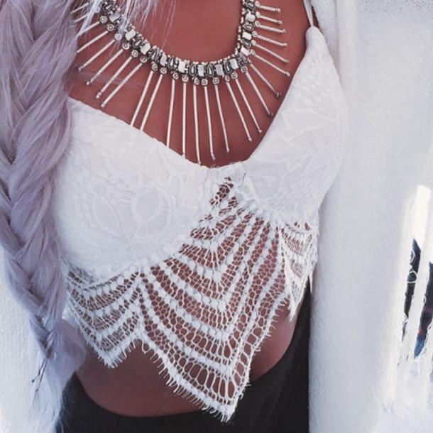 top, white, lace, boho, bohemian, boho chic, bralette, hippie .