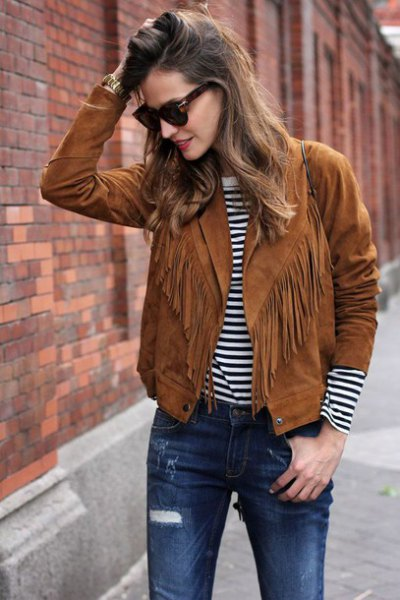How to Wear Suede Fringe Jacket: Outfit Ideas for Women - FMag.c