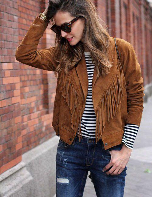 Women's Cropped Fringe Tassel Suede Jacket in 2020 | Summer .