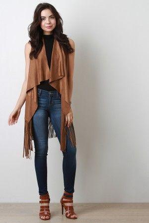 Suede Fringe Vest | Fringed vest outfit, Vest outfits, Girly fashi