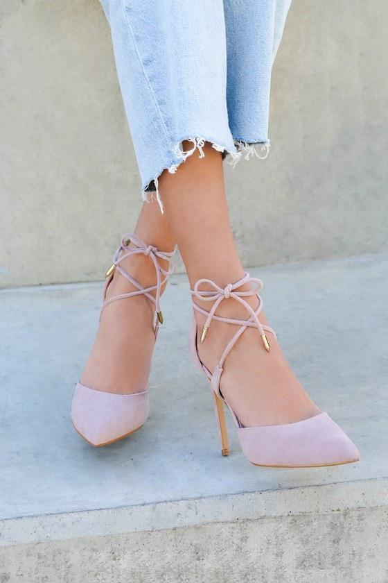 Chic Dusty Pink Heels - Vegan Suede Heels - Lace-Up Hee