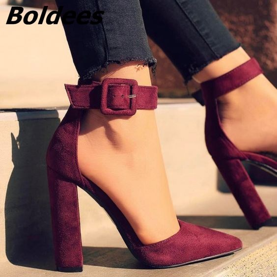Glamorous Line Buckle Style Pointy Block Heel Pumps Classy .