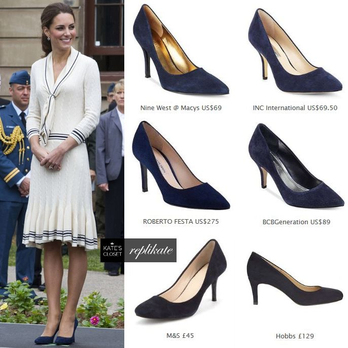 Kate Middleton Style. Alexander McQueen navy suede heels .