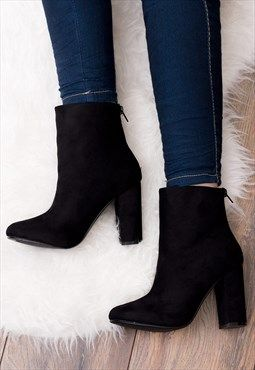DAIZE Zip Block Heel Ankle Boots Shoes - Black Suede Style (With .