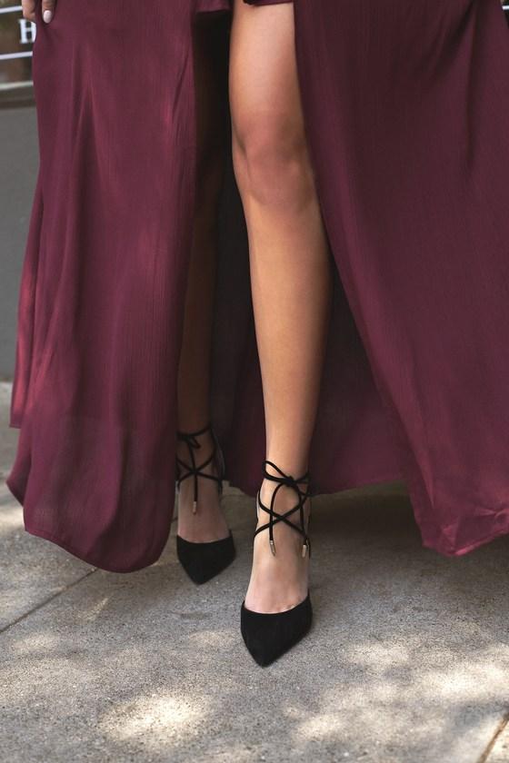 Chic Black Heels - Vegan Suede Heels -Lace-Up Stiletto Hee