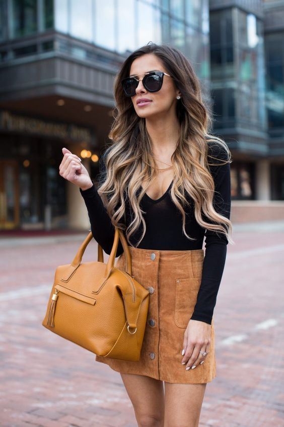 Suede mini skirt outfit, Denim skirt | All-Brown Outfits Ideas .