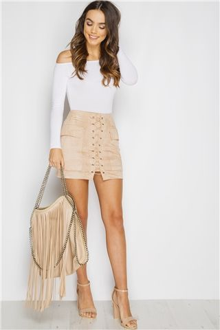Miranda Stone Lace Up Suede Mini Skirt … | Classy outfits, Cloth