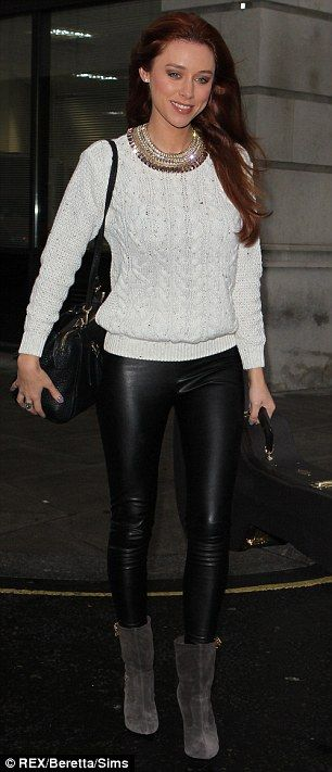 Mollie King and Vanessa White opt for leather pencil skirts as The .