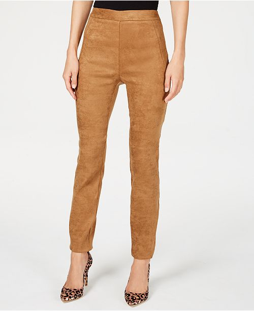 INC International Concepts I.N.C. Faux-Suede Pull-On Pants .