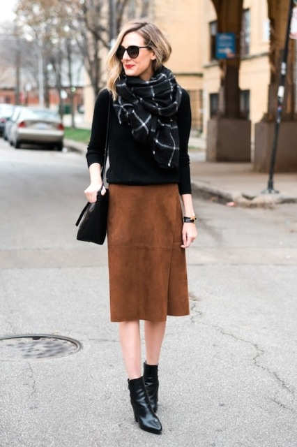 20 Suede Wrap Skirt Outfit Ideas - Styleohol