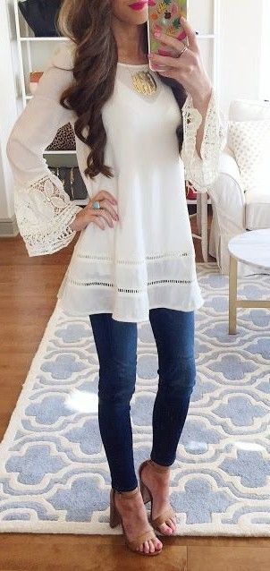 spring #summer #outfitideas | White Lace Tunic + Denim | Southern .