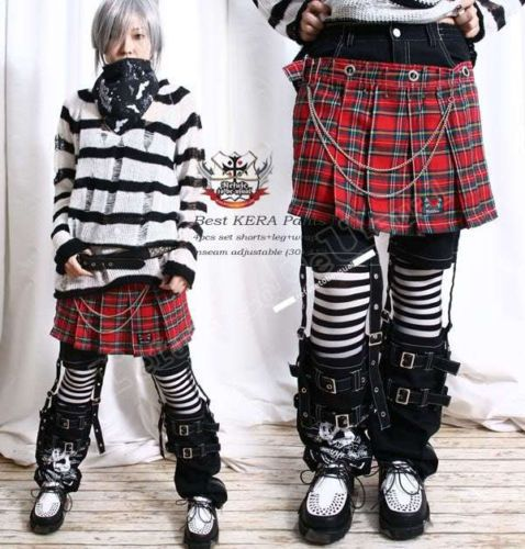 Kera Punk Rock Pleated Tartan Skirt+Shorts+Suspender LEG Warmer .