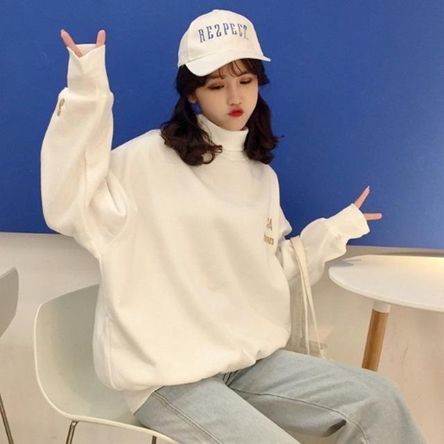 PLAMTEE Korean Style Oversize Women Hoodie White Wild Girl Preppy .