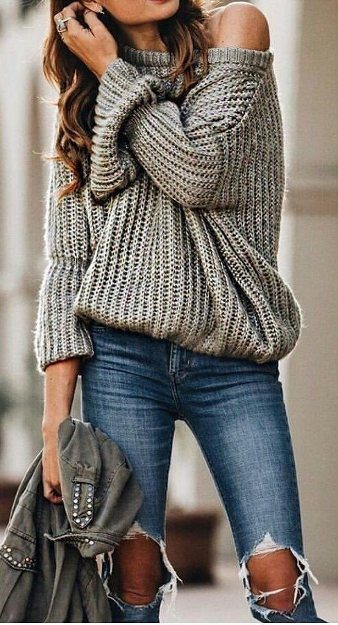 fall #outfits women's gray sweater and blue distressed jeans .