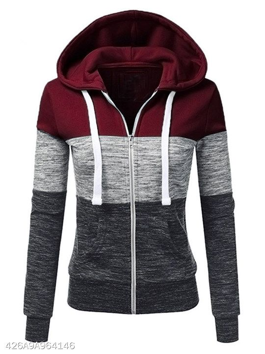Color Block Patch Pocket Hoodie #fashion #clothes #womens .