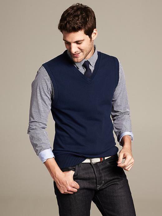 Banana Republic Mens Classic Sweater Vest Navy | Vest outfits men .