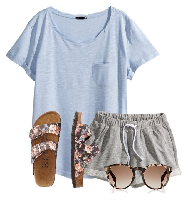 summer #outfits / Blue Sky V Tee + Grey Sweat Shorts | Comfy .