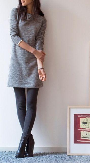 love this simple dress with leggings | Moda estilo, Vestidos con .