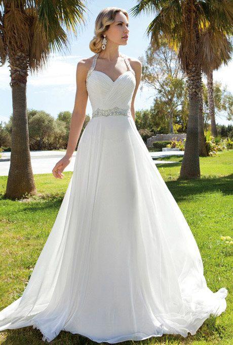 Brides: Demetrios - Destination Romance. Chiffon, A-line halter .