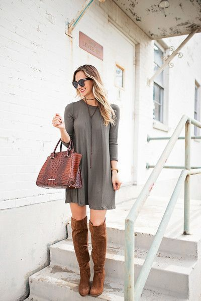 Tall Boots and a Shift Dress | Cute fall outfits, Fashion, Fall .