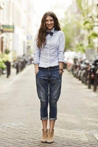 Women's Grey Dress Shirt, Navy Boyfriend Jeans, Tan Suede Ankle .
