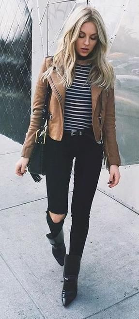 stripes. skinny jeans. tan leather jacket. street style. | Fashion .