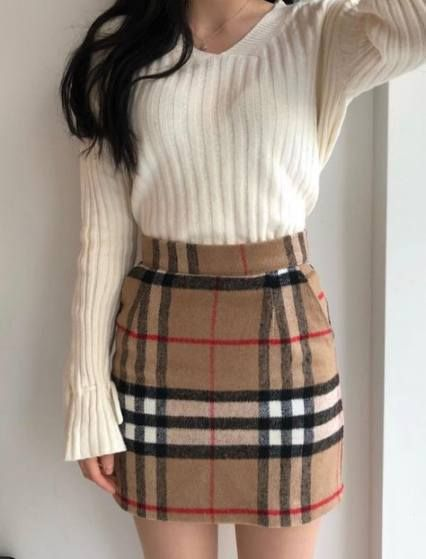 Fashion Korean Pants Style 20 Ideas For 2019 | Tartan skirt outfit .