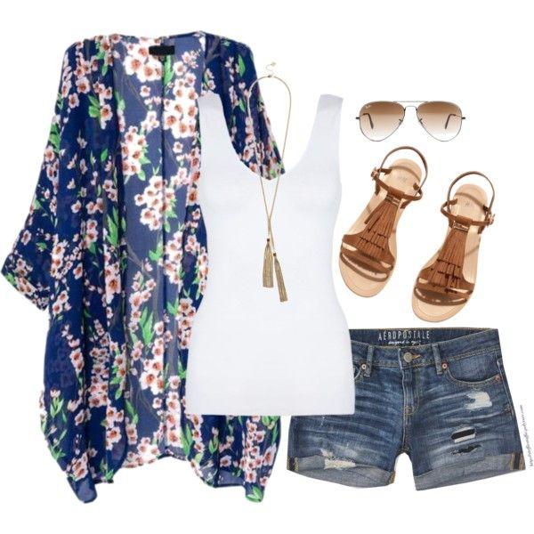 Kimono, denim shorts & fringe sandals | Fashion, Style, Cloth
