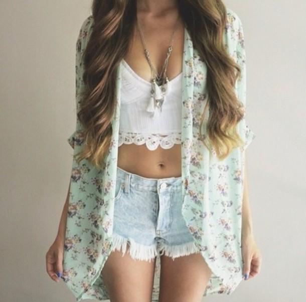 floral kimono, acid wash, denim shorts, ripped shorts, summer .