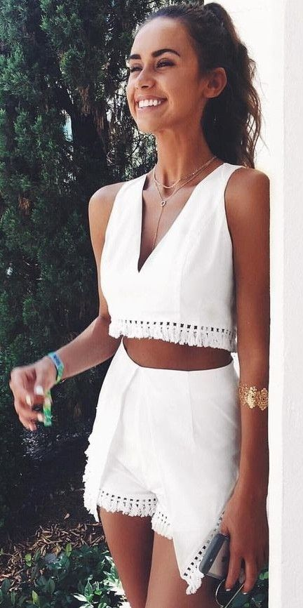 summer #fashion #outfitideas | White Tassel Short and Top Set .