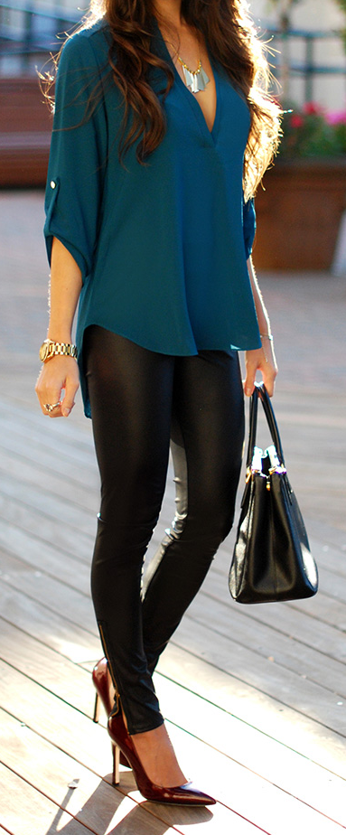 Teal Shirt Leather Leggings | Outfit ideas | Fashion, Clothes .