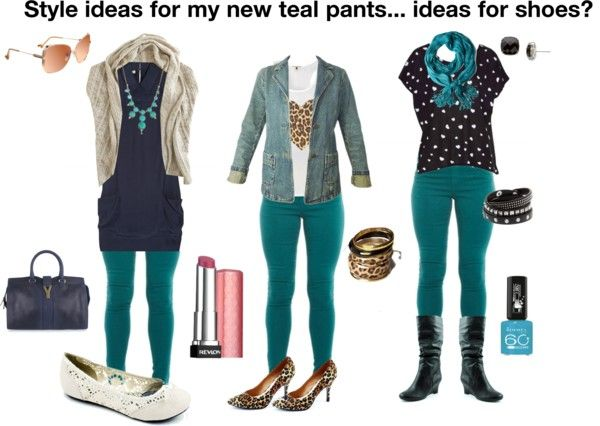 Style ideas for my new teal pants... ideas for shoes? | Teal shirt .