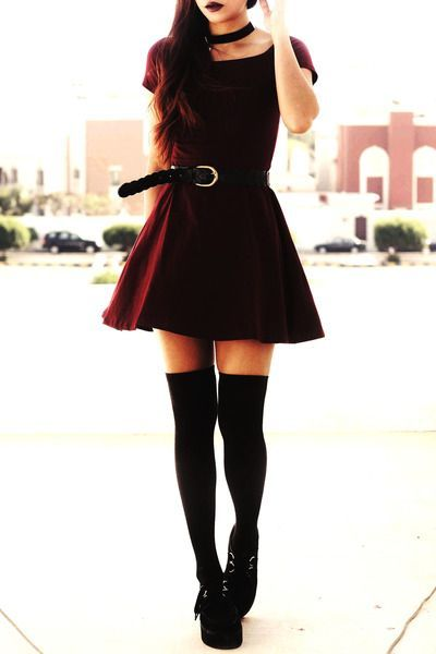 How to Wear Thigh High Socks? 12 Ways | Punk dress, Fashion, Sty