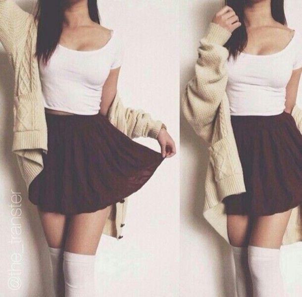 skirt cute outfit cute cardigan crop tops top skater skirt knee .