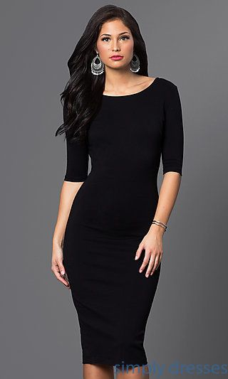 Three-Quarter Sleeve V-Back Midi Dress | Cocktail dresses with .