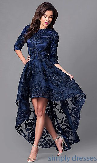 High-Low Lace Dress with 3/4 Length Sleeves | High low lace dress .