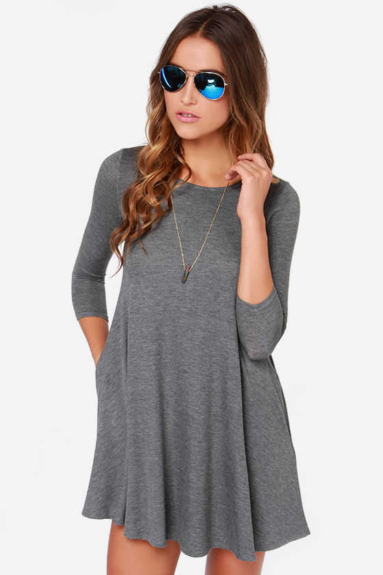 Chic Grey Dress - Swing Dress - Three Quarter Sleeve Dress - $44.