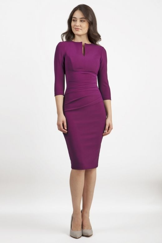 Diva Lydia Three Quarter Plain Sleeve Pencil Dress | Necklines for .